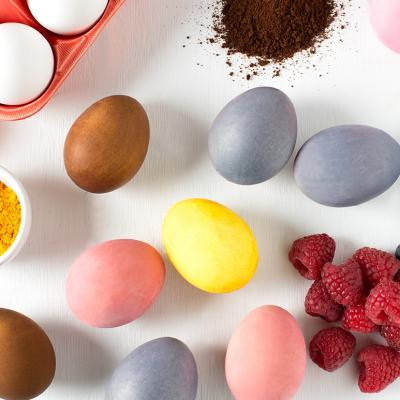 naturally coloured hard cooked eggs