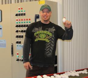 Curtis in egg room