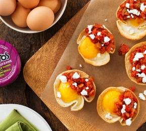 Baked Eggs in Tortilla Cups with Goat Cheese withTostitos CMS