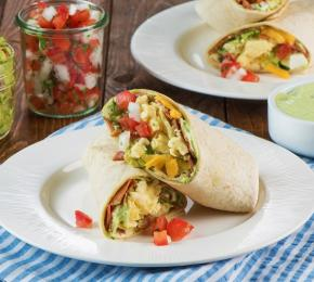 Breakfast Burrito with Bacon Egg Guacamole CMS