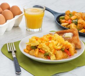 Cheesy Scrambled Eggs with Hash Brown Potatoes CMS