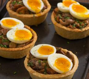 Mushroom onion and soft boiled egg tartlets CMS