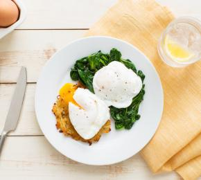 Potato Rosti with Poached Eggs and Spinach 021