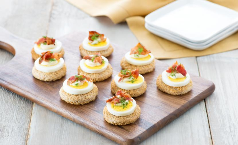Recipes egg and bacon canap s for Simple canape appetizer