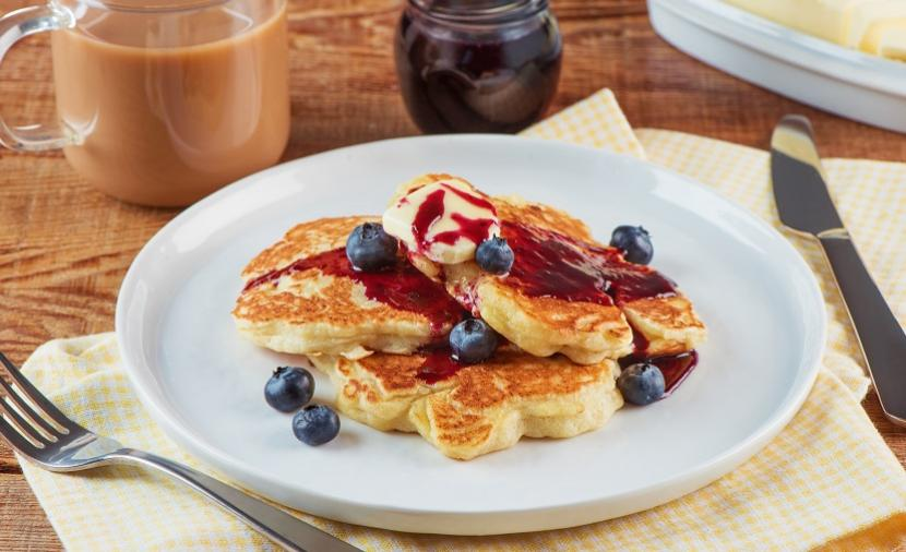 Recipes - Lemon Ricotta Hotcakes with Blueberry Syrup » Eggs.ca