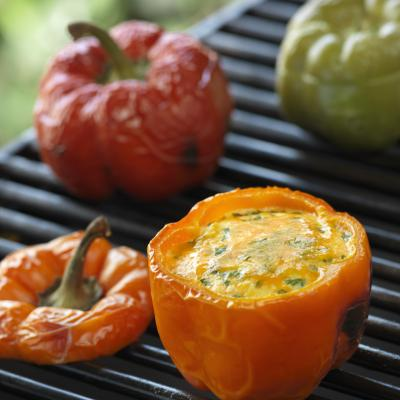 BBQ Scrambled Egg Stuffed Peppers