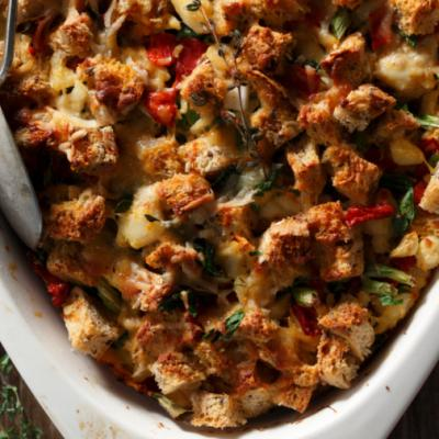 Crab and Roasted Red Pepper Strata