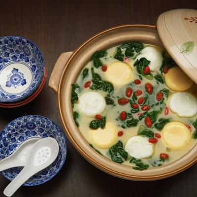 Duo egg pearl boiled in concentrated stock with baby bok choy CMS