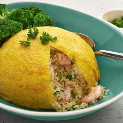 Golden omelette covered shrimp fried rice CMS
