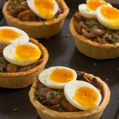 Mushroom onion and soft boiled egg tartlets CMS