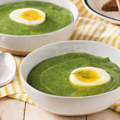 Spinach Dill Soup with Soft Cooked Egg CMS