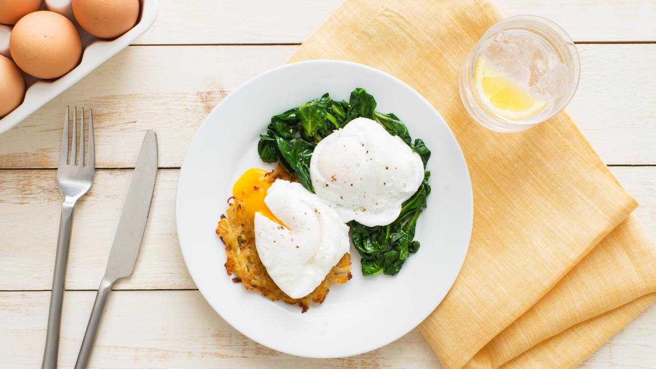Potato Rosti with Poached Eggs and Spinach min