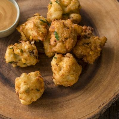 Aged White Cheddar Sweet Corn Smokey Bacon Fritters CMS