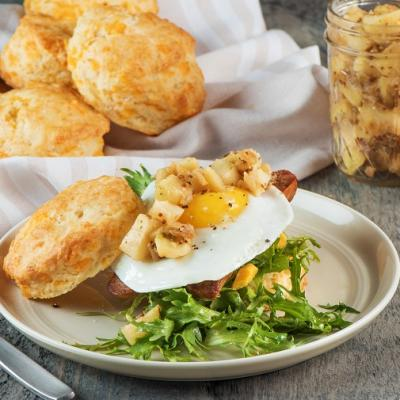 Applewood Smoked Chicken Sausage and Egg on Cheddar Biscuits CMS