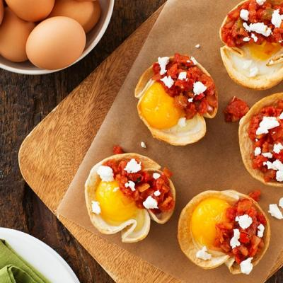 Baked Eggs in Tortilla Cups with Goat Cheese CMS