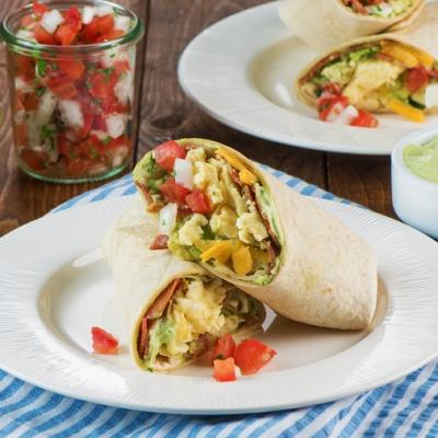 Breakfast Burrito with Bacon Egg Guacamole CMS