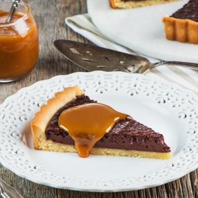Chocolate Tart with Salted Caramel Sauce CMS