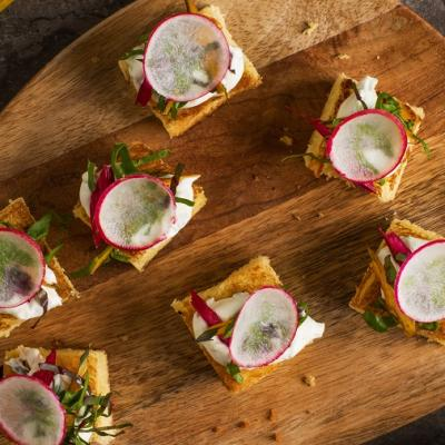Egg Bread with Grilled Swiss Chard Sour Cream and Radish CMS