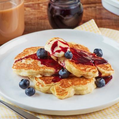 Lemon Ricotta Hotcakes with Blueberry Syrup CMS