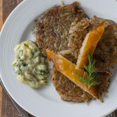 Roesti with Gribiche Sauce and Smoked Fish CMS