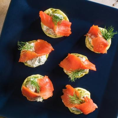 Smoked Salmon Fritters with Dill Cream Cheese CMS