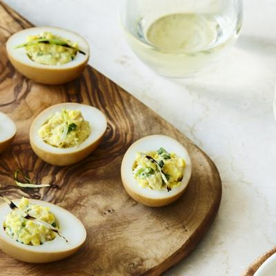 Soy Stained Devilled Eggs and Dungeness Crab CMS