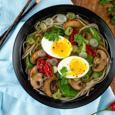 Spinach and Mushroom Soba Noodle Soup CMS