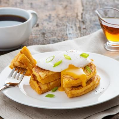 Sweet Potato Pancakes with Poached Eggs CMS