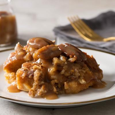 Sweet Potato Pecan Bread Pudding with Bourbon Caramel Sauce CMS