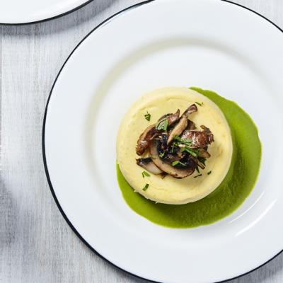 Wild Mushroom Royale with Sweet Pea and Basil Sauce CMS
