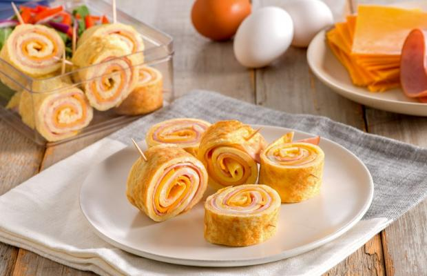 Ham and Cheese Omelette Roll Ups CMS