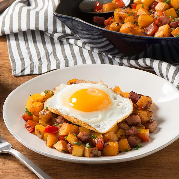 Butternut Squash and Shallot Hash with Fried Eggs