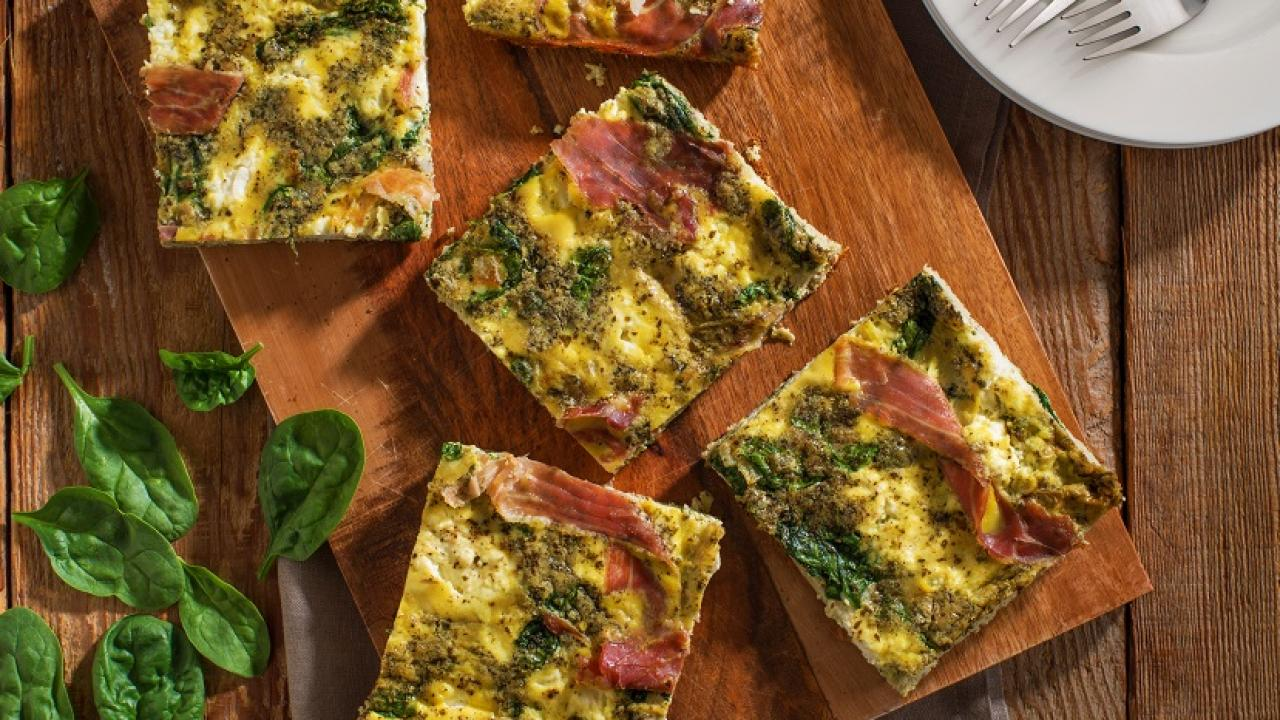 Baked Parma Ham Pesto Ricotta Frittata Recipe Get Cracking