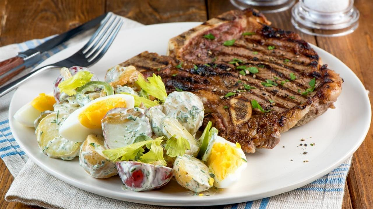 T Bone Steak Amp Summer Potato Salad Recipe Get Cracking