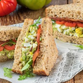 Avocado Egg Salad Sandwiches w. Maple Turkey Bacon and Pickled Celery and Heirloom Salad CMS