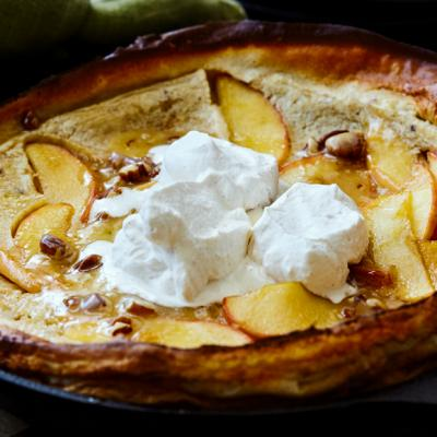Apple Dutch Baby with Maple Pecan Glaze and Cinnamon Whipped Cream CMS