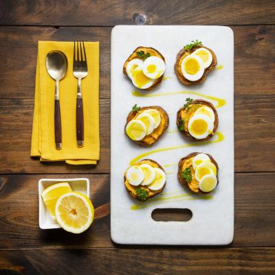 August Sweet Potato Toast topped with Boiled Eggs