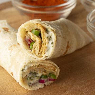 EGG TORTILLA ROLL with CORIANDER MINT MAYO