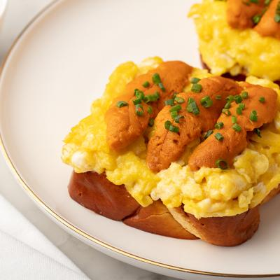 Egg Scramble on Toast Topped with Sea Urchin