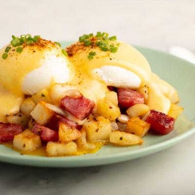 Eggs Benedict With Sichuan Hollandaise Over Chinese Hash