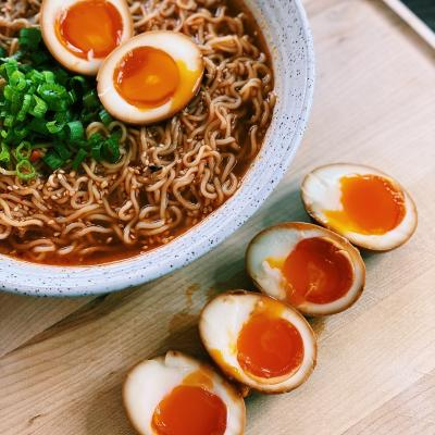 Ramen Topped with Ramed Eggs