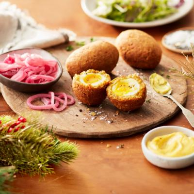 Scotch Eggs with Curry Mayonnaise and Salad CMS