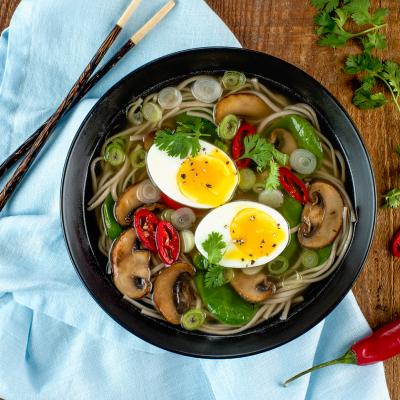Spinach and Mushroom Soba Noodle Soup