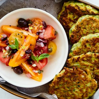 Zucchini and Feta Fritters with Tomato Basil Salad CMS